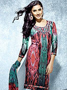 Motivate your look with this pretty printed kurti. This fantastic faux crepe printed tunic is beautified with abstract art print work. Matching stole is available with this tunic. Bottom shown in the image is just for photography purpose. The tunic can be customize upto 40 inches. Slight Color variations are possible due to differing screen and photograph resolutions.