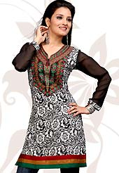 Extensive and showy tunics with simplicity. Arresting patterned tunic is nicely designed with print and embroidery work in floral pattern which is graceful and gives you a modern look. This is made with American Crepe fabric. Color combination of this tunic is nice. It's a casual wear drape. Bottom shown in the image is just photography purpose. Slight Color variations are possible due to differing screen and photograph resolutions.