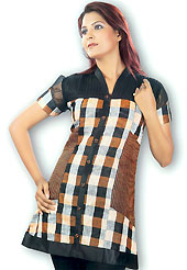 This Black and Rust cotton tunic is designed with checks print work on all over with border patch. This is a perfect casual wear. Slight Color variations are possible due to differing screen and photograph resolutions.