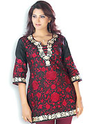 This Red and Black cotton tunic is designed with resham embroidery work on all over in floral patterns. This is a perfect casual wear. Slight Color variations are possible due to differing screen and photograph resolutions.