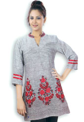 Grey cotton tunic is designed with resham embroidery work on bottom area in floral patterns. Embroidery on collar is eye catching. This is a perfect casual wear. Slight Color variations are possible due to differing screen and photograph resolutions.