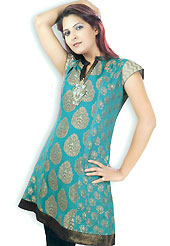 This Turquoise Green cotton tunic is designed with zari work on all over in floral patterns. This is a perfect casual wear. Slight Color variations are possible due to differing screen and photograph resolutions.