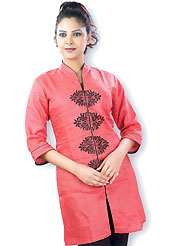 This Red cotton tunic is designed with resham embroidery work in floral patterns. This is a perfect casual wear. Slight Color variations are possible due to differing screen and photograph resolutions.