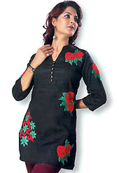 This Black cotton tunic is designed with resham embroidery patch work on all over in floral patterns. This is a perfect casual wear. Slight Color variations are possible due to differing screen and photograph resolutions.