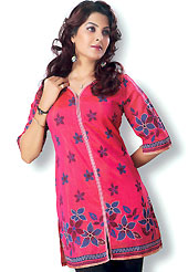 This Red cotton tunic is designed with resham embroidery patch work on all over in floral patterns. This is a perfect casual wear. Slight Color variations are possible due to differing screen and photograph resolutions.