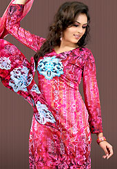 Amazing tunics embellished with embroidery. This deep pink faux crepe tunic is designed with beautiful combination of digital print and sequins work in form of floral motifs. Beautiful printed faux georgette stole is available with this tunic. Bottom shown in the image is just for photography purpose. Slight Color variations are possible due to differing screen and photograph resolutions.