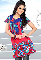 This red and blue printed cotton readymade tunic is nicely designed with abstract, floral, paisley print and resham work. This is a perfect casual wear. Bottom shown in the image is just for photography purpose. Slight Color variations are possible due to differing screen and photograph resolutions.