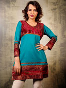 Style yourself up with this unique and smart blue kurti.