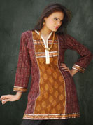 Dabu print kurti with reshm jari work and sequence work