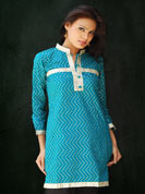 Cambric fabric kurti with gold print work