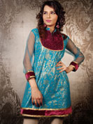 Feel refreshed yet trendy with this cool blue kurti with simar lining. The most attractive feature of this kurti is that its sleeves are made of net which is an exclusive feature and also the velvet patch work done adds to its fantastic elegant look. Suitable for all kinds of occasion and best suited for the summer season.