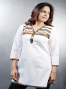 Cotton chicken kurti with lace work