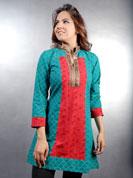 Daba printed kurti with contrast work and jari gota work