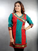Daba printed kurti with stitched work and banarsi border