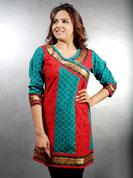 Daba printed kurti with stitched work and banarsi border