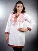 Cotton chicken kurti embroidery and jari work