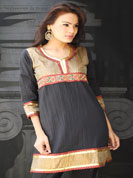 Crush fabric kurti with brocket work