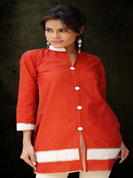 South silk cotton kurti with sequence embroidery work and ribbon lace work
