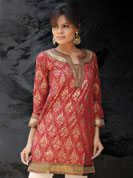 Cambric gold kurti with brocket patch work and sequence lace work on neck and wrist