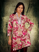 Cotton print kurti with sequence lace and jari lace work on neck and wrist