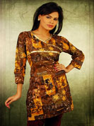 Cotton print kurti with moti embroidery work and lace and leader work