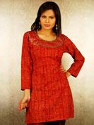Dabu print kurti with resham mirror embroidery on neck