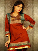 Jai kart fabric kurti with brocket work and simmer printed kurti with copper jari lace work