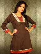 Crush fabric kurti with brocket dhari work and resham sequence embroidery and ribbon lace work