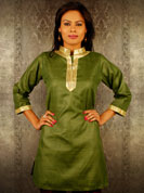 Metro self fabric kurti with sequence embroidery on neck and wrist