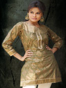 Cambric gold print kurti with brocket work on wrist and ribbon lace work