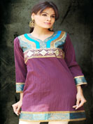 Crush fabric kurti with velvet sequence emboirdery on neck and wrist and simmer work with brocket silk work