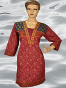 Block print flower bandhni kurti with dhari style neck with mirror and thread work
