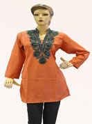 Cotton kurti with heavy kadai work with sequence work  and stylish colure neck