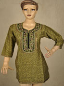 Printed cotton silk kurti with long yoke golden thread parsi work on neck and golden chain lace on sleeves on bottom and neck