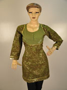 Khadi brown kurti with light stone work on heavy neck with same work on sleeves