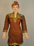 designer printed kurti with buti print and bottom on lace work and full sleeves with lace work and neck on lace work.