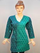 designer cotton kurti with full printed work and frount on work and full sleeves with full printed work.