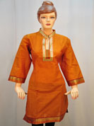 Be ready for some compliments by donning this classy saffron  kurti. The main attraction of this kurti is traditional self print cotton kurti. Look totally uniqe and stylish