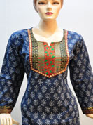 Traditional designer print cotton and crepe kurti with patch work and traditional embroidred. For any occasion and formal party. Slight Color variations possible due to differing screen and photograph resolutions
