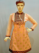 Stylish Chanderi cotton kurti is nicely designed with printed fabric patch work on neck with embroidery patch. Sleeves is made with net fabric with matching border. Kurti has also fabric border. This kurti gives you a smart and trendy look and make different to others. Color of this kurti is peach and orange. It's a casual wear drape. Slight Color variations are possible due to differing screen and photograph resolutions.