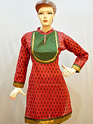 Simple captivating cotton kurti is nicely designed with butti print on all over. Quilted fabric patch work on neck with lace. Golden border on kurti and sleeves. Color of this kurti is red and green. It's a daily wear drape. Slight Color variations are possible due to differing screen and photograph resolutions.