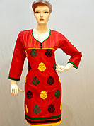 Create a new look with this kurti. This stylish and beautiful cotton kurti is nicely designed with floral embroidery butti work with fabric lace on bottom and sleeves. This kurti gives you a smart and trendy look and make different to others. Color of this kurti is red. It's a casual wear drape. Slight Color variations are possible due to differing screen and photograph resolutions.