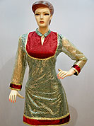 Stylish net kurti is nicely designed with velvet patch work on neckline, border and sleeves with printed inner. Net fabric also having swirl golder print work. This kurti gives you a smart and trendy look and make different to others. It's a casual wear drape. Slight Color variations are possible due to differing screen and photograph resolutions.