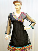 This designer net kurti is nicely designed with beautiful embroidery border with stylish neckline patch work. Its gives you a modern and ethnic look. Color of this kurti is black. It's a daily wear drape. Slight Color variations are possible due to differing screen and photograph resolutions.