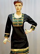 Stylish cotton kurti is nicely designed with woven fabric patch work on neckline, border and sleeves. This kurti gives you a smart and trendy look and make different to others. Color of this kurti is black. It's a casual wear drape. Slight Color variations are possible due to differing screen and photograph resolutions.