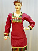 Stylish cotton kurti is nicely designed with woven fabric patch work on neckline, border and sleeves. This kurti gives you a smart and trendy look and make different to others. Color of this kurti is red. It's a casual wear drape. Slight Color variations are possible due to differing screen and photograph resolutions.