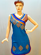 This designer cotton kurti is nicely designed with beautiful embroidery patch with stylish neckline brocade patch work. Its gives you a modern and ethnic look. embroidery is done with resham, stone and sequins. Color of this kurti is blue. It's a party wear drape. Slight Color variations are possible due to differing screen and photograph resolutions.