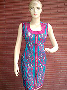 A beautiful silk kurti is nicely designed with thread worked floral embroidery, buttons and piping work. This kurti is used for casual and party purpose. Nice mixing of colors and work make different to others. Slight Color variations are possible due to differing screen and photograph resolutions.