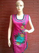 A arrestingsilk kurti is nicely designed with thread worked floral embroidery patch with stone and piping work. This kurti is used for casual and party purpose. Nice mixing of colors and work make different to others. Another colors of this kurti shown in image. Slight Color variations are possible due to differing screen and photograph resolutions.