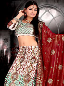 Make your collection more attractive and charming with this impressive dress. This off white, light green and maroon lehenga choli is nicely embroidered and patch work done with  resham, zari, stone and sequins work in form of floral motifs. Beautiful embroidery work on lehenga is stunning. The beautiful embroidery on lehenga made it awesome and gives you stylish and attractive look to others. Matching and dupatta is availble with this lehenga. Slight Color variations are possible due to differing screen and photograph resolutions.